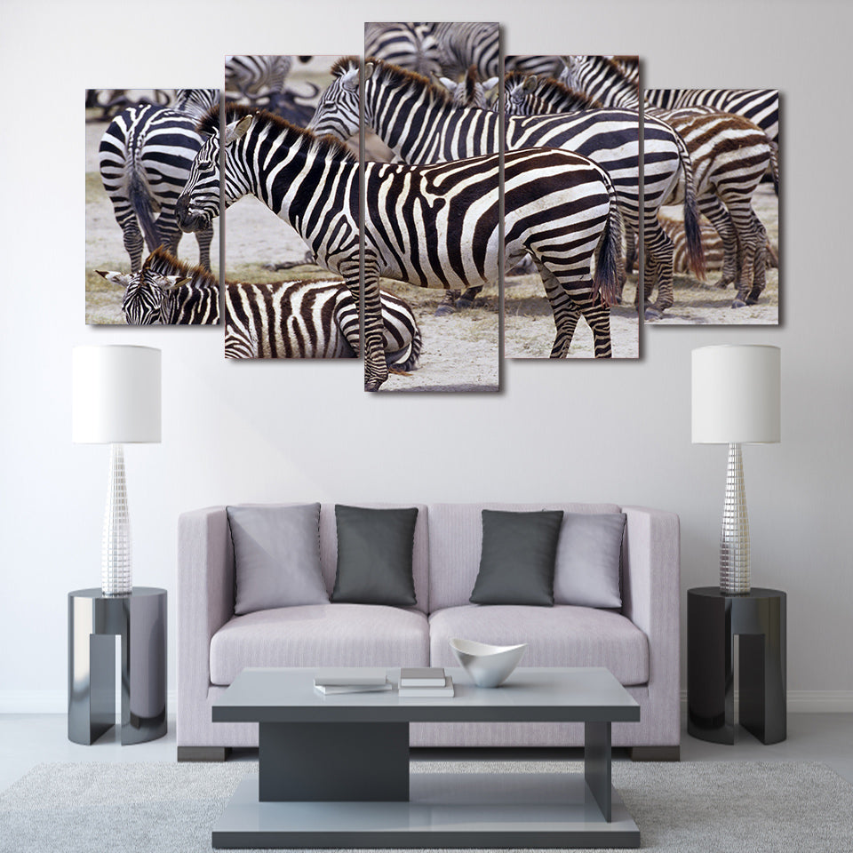 HD Printed Africa Zebra Landscape Group Painting Room Decor Print Poster Picture Canvas
