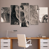 5 Piece Art Canvas Painting HD Print Wall Pictures Room Elephant Side Face Wall Posters