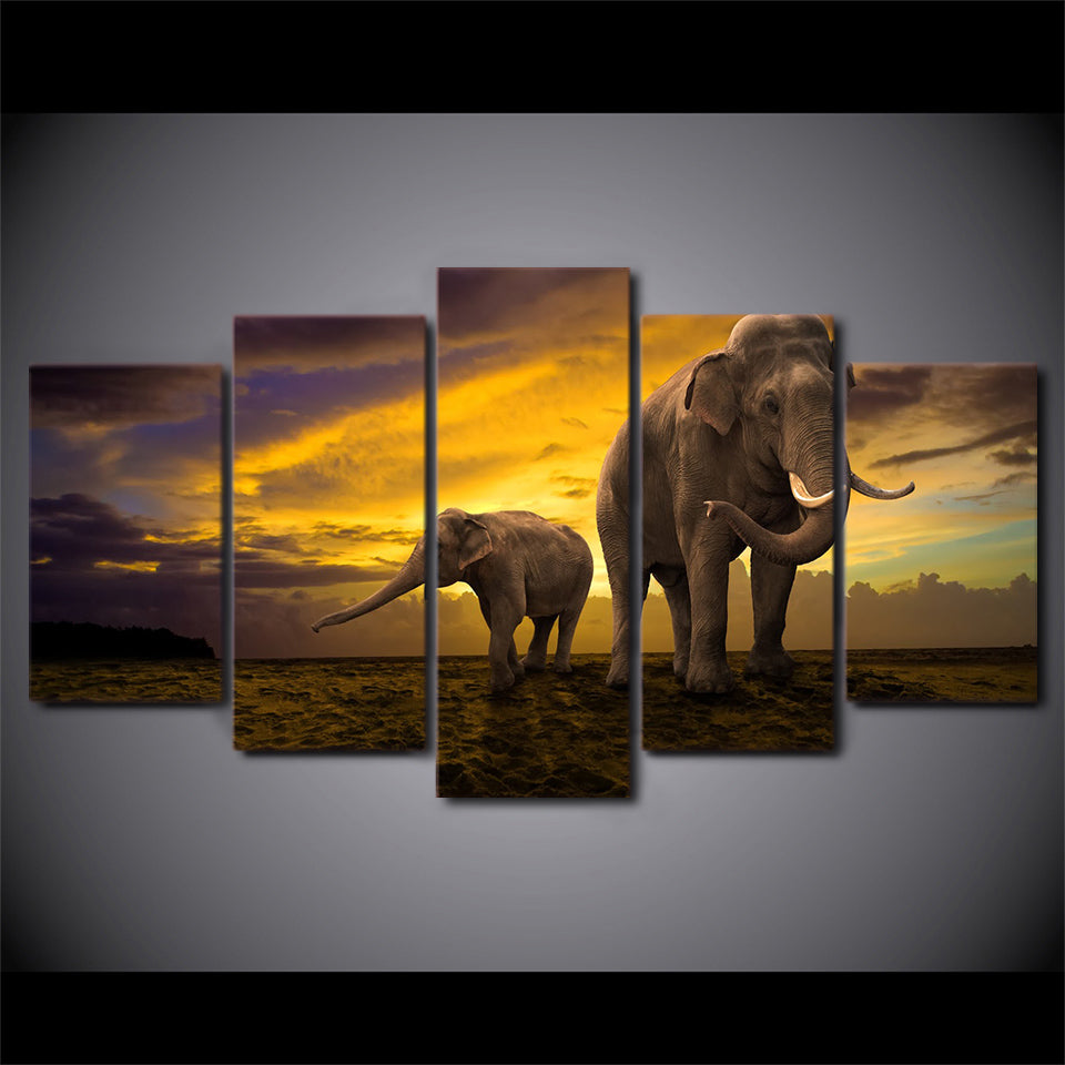 HD Printed 5 Piece Canvas Art Elephant Picture Sunset Artwork Paintings Room Decor Panel