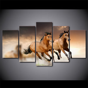 5 Pieces Canvas Paintings Printed Animal Horse Rest Wall Art Canvas Modular