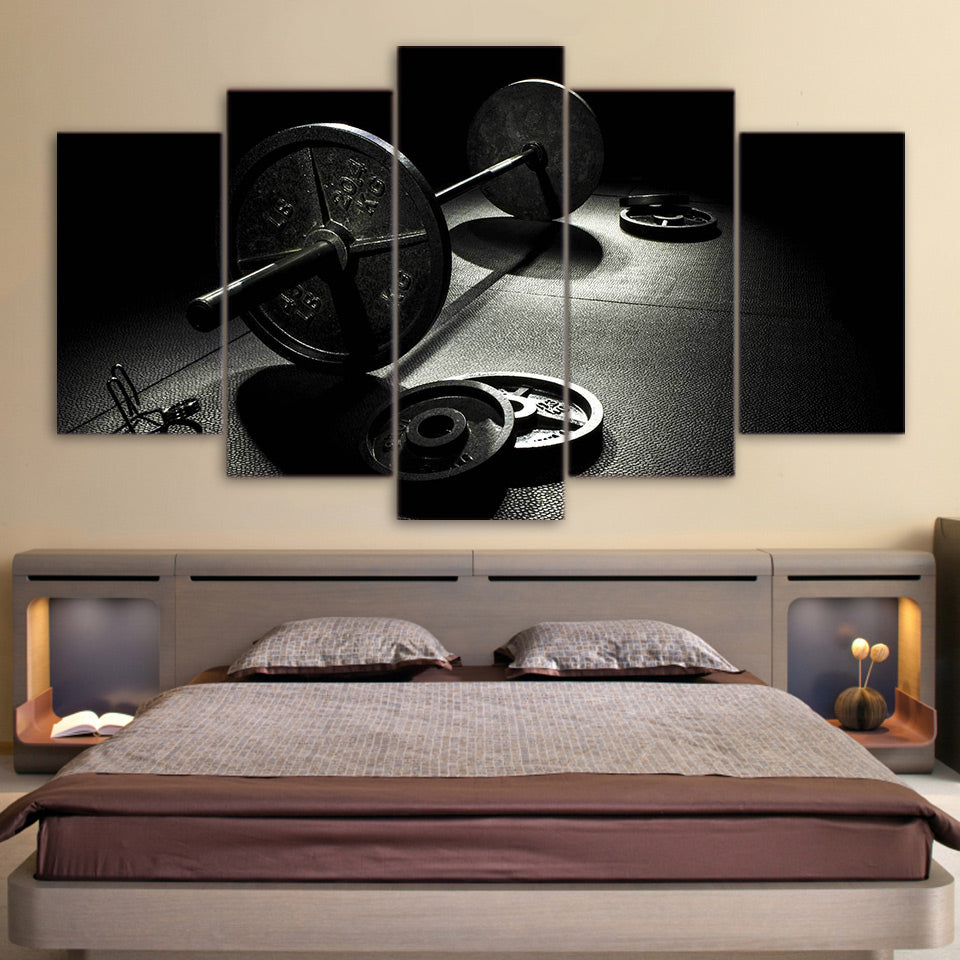 5 Piece Canvas Art Gym Barbells Poster Fitness Home Decor Wall Pictures