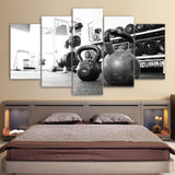 5 Piece Canvas Art Dumbbell Poster Gym HD Printed Wall Art Canvas Painting