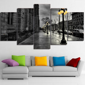 HD Printed 5 Piece Canvas Art Street View London Grey Painting Wall Pictures