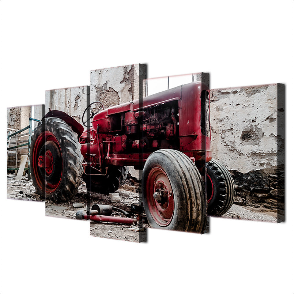 5 Pcs Canvas Art Old Broken Tractor HD Printed Wall Art Home Decor Canvas Painting Picture Poster Prints