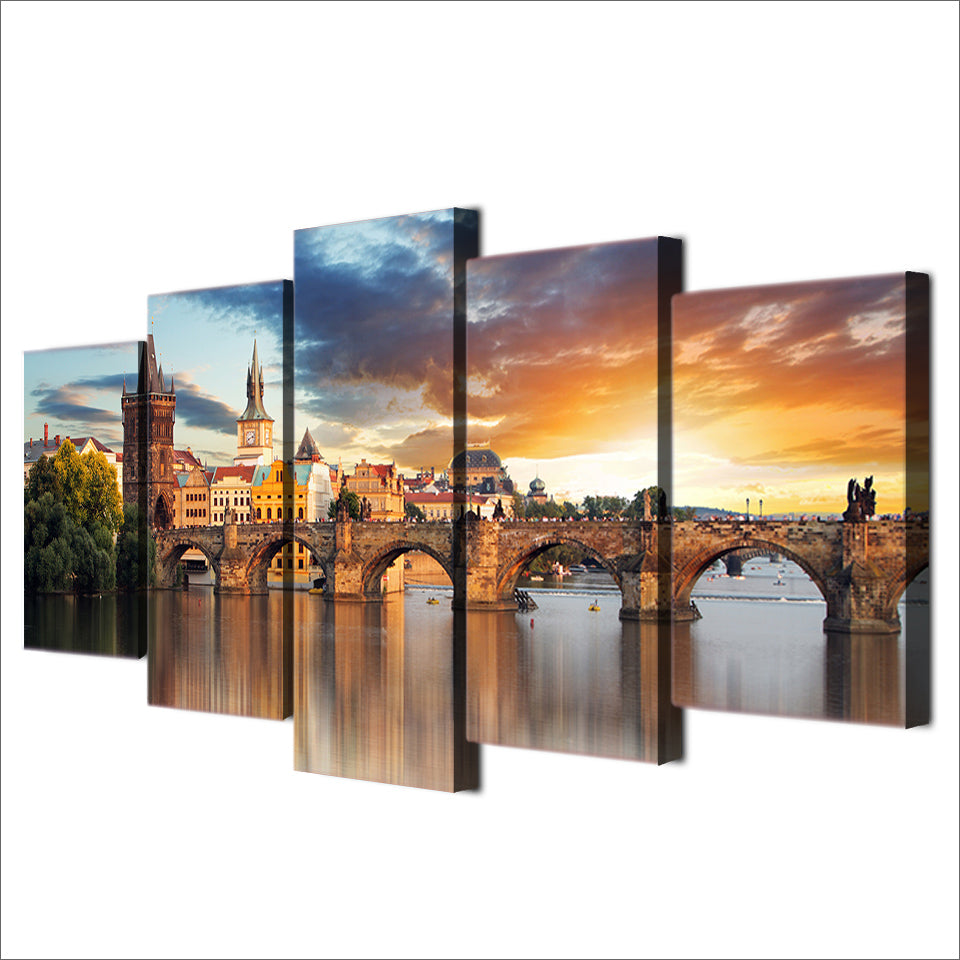 HD Printed 5 Piece Canvas Art Bridge Building Landscape Painting Artwork Living Room Decor Panel