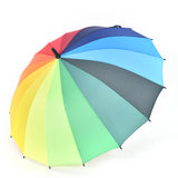 Rain Umbrella Long Handle Big Rainbow Walking Stick Umbrella Cane Anti-UV Windproof Parasol