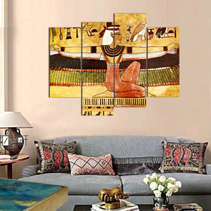 4 Panel Modern Abstract Wall Art Painting Egyptian Woman Canvas Painting Home Decor Unframed
