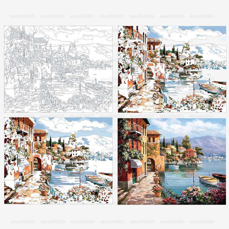 Venice Resorts Seascape DIY Painting By Numbers Oil Painting  Home Wall Decor Artwork