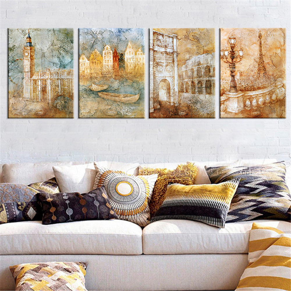 London City Landscape Canvas Art Wall Picture Decoration Home Decor Oil Painting