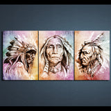 HD Printed 3 Piece Canvas Art  American Indians Artwork Portrait Painting Wall Pictures