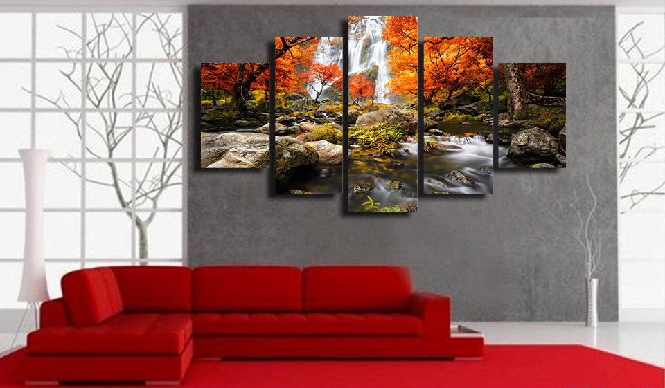 HD Print 5 Piece Canvas Art Autumn Nature Lake Forest Waterfall Landscape Painting Canvas