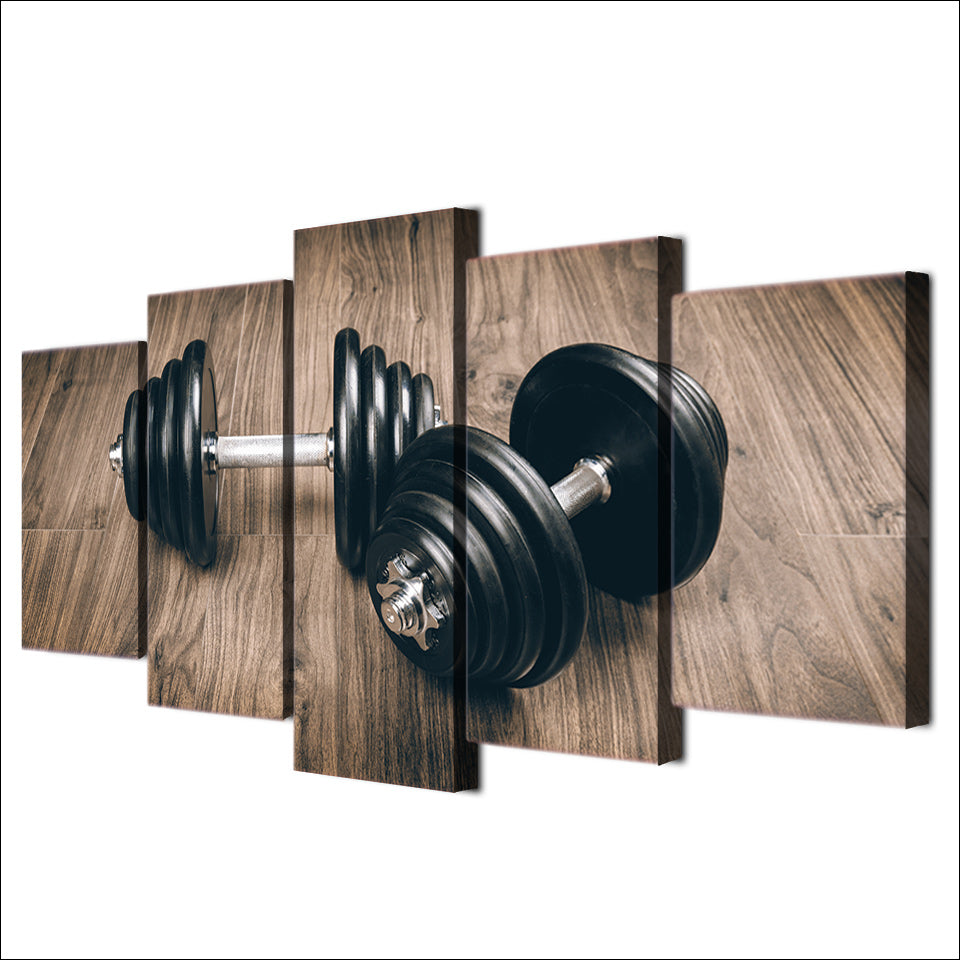 HD Printed 5 Piece Canvas Art Fitness Gym Sports Painting Dumbbells Wall Pictures