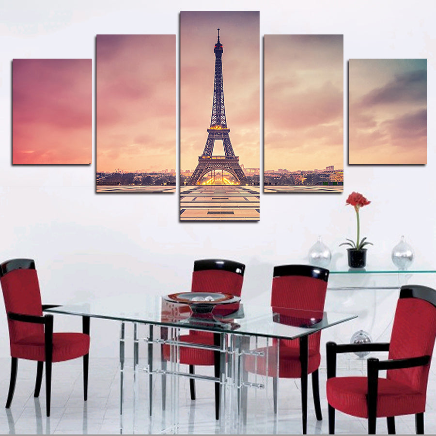 Modular Poster HD Print Canvas Painting Wall Art 5 Panel Paris Building Effiel Tower Sunset Glow Landscape Pictures