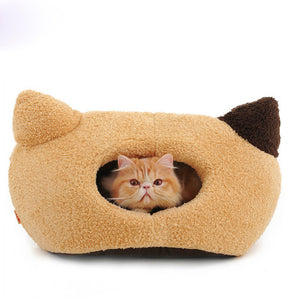 Brown Cat Ear Bed Pet Cat Cave Bed Removable Cushion,Waterproof Bottom Most Lovely Pet House