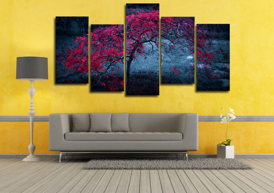 HD Printed Purple Autumn Painting Canvas Print Decor Print Poster Picture Canvas