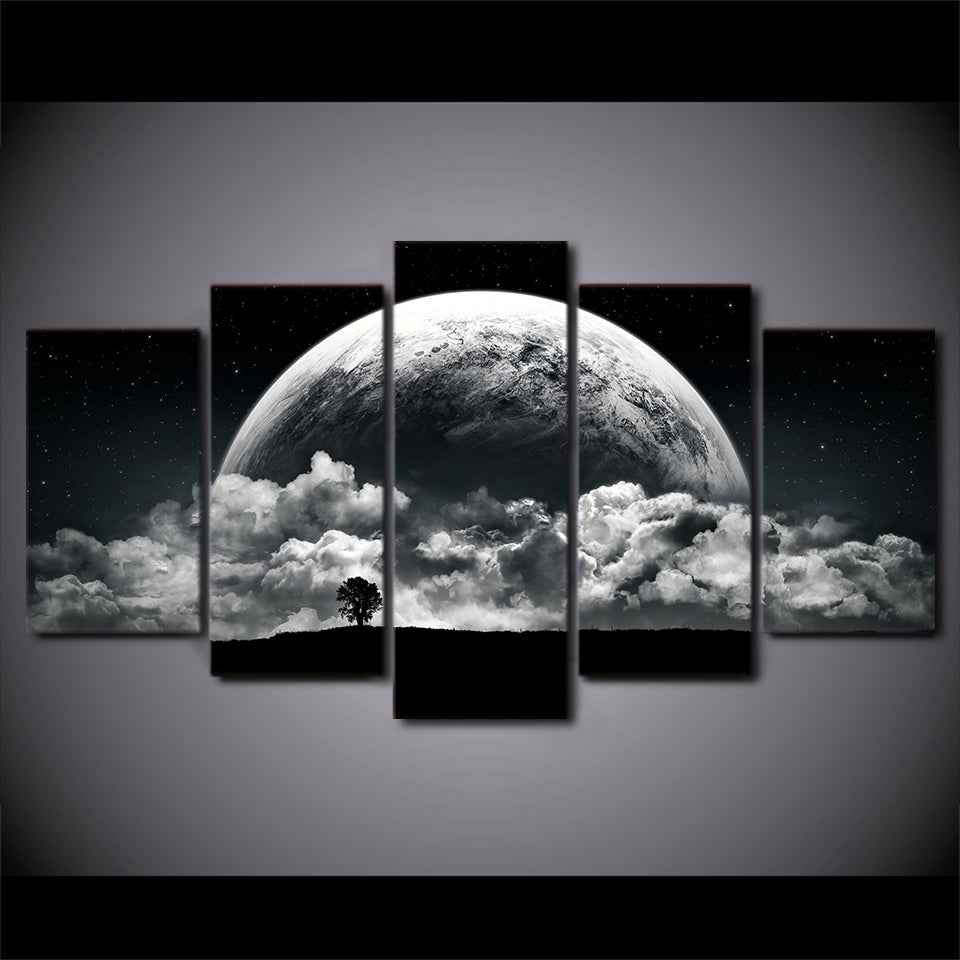 Canvas Paintings Printed 5 Pieces Night clouds planets Wall Art Canvas Pictures