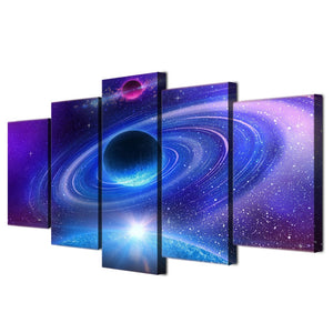 Wall Art Canvas Painting Universe Space Planet Starry Sky 5 Piece HD Printed Picture