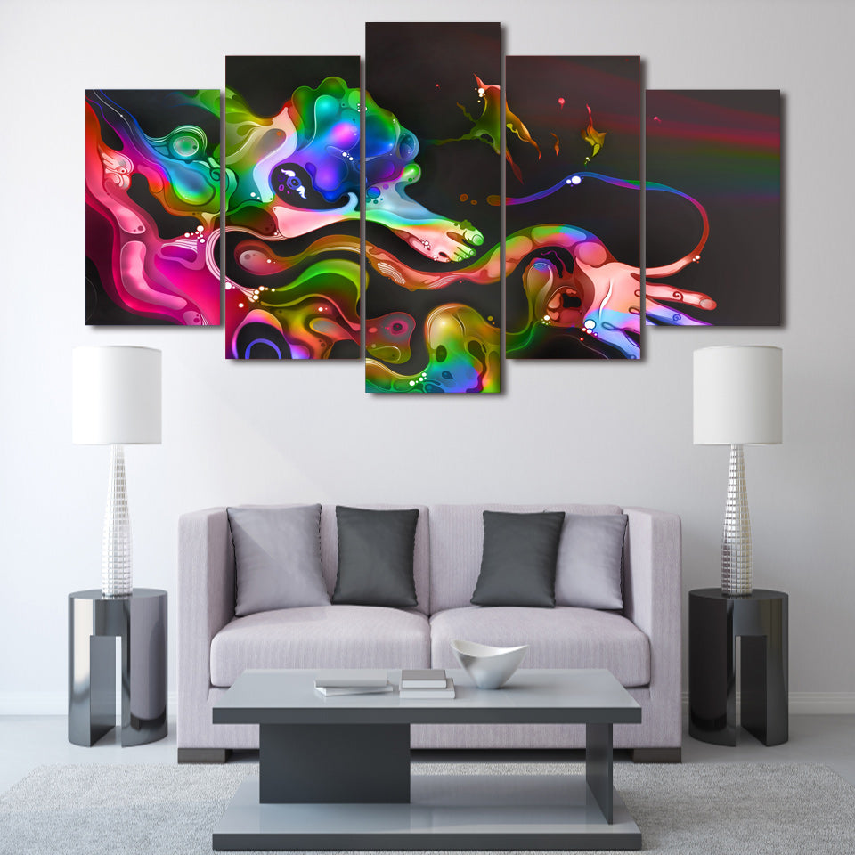 HD Printed Colorful Abstract Paintings Group Painting Print Poster Picture Canvas