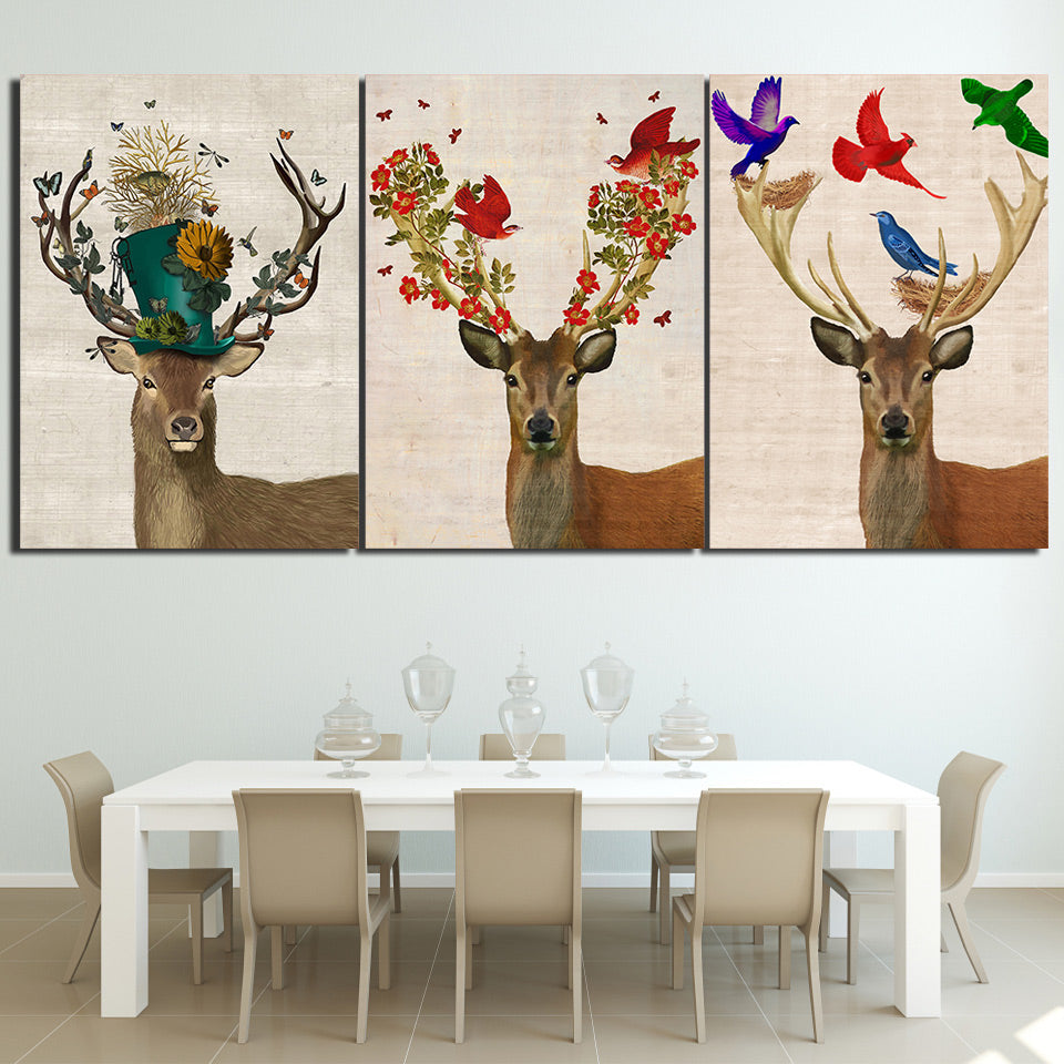 HD Printed 3 Piece Deer Elk Color Birds Forest Nordic Canvas Wall Art Pictures Posters