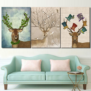 HD Printed 3 Piece Deer Birds Forest Nordic Canvas Wall Art Pictures Posters And Prints