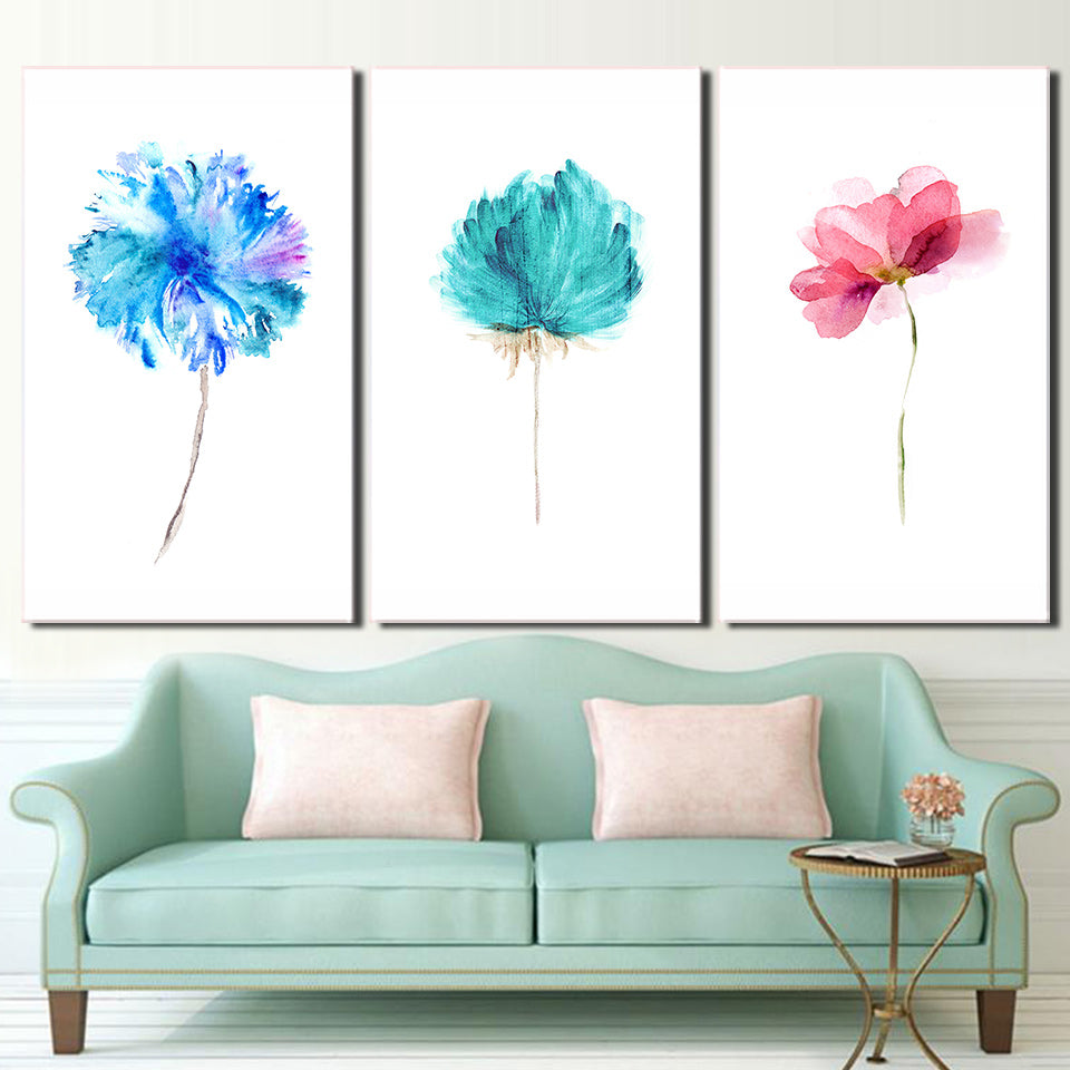 3 Piece Canvas Art Watercolor Flowers Pictures Posters And Prints Paintings Wall