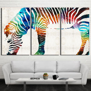 3 Piece HD printed Canvas Art Streamer Color Zebra Modern Painting Poster And Prints