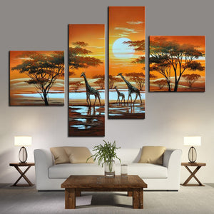 Ornament Picture Hand Painted Landscape Oil Paintings African Giraffe  Panel Canvas Art Household
