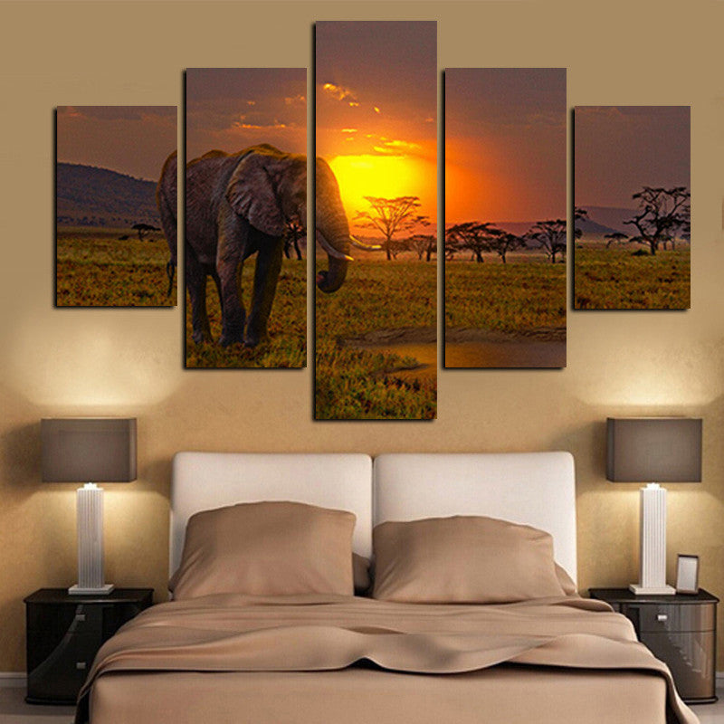 5Panel Canvas Art African Elephant Under Sunset Landscape Painting Modern Modular Wall Picture