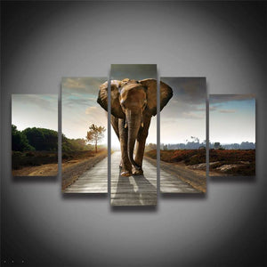 Printed Style African Elephant Animal Painting On Canvas 5 Panel Landscape Wall Decoration Canvas