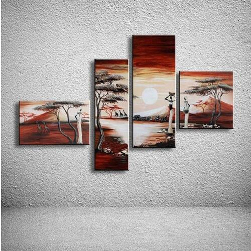 4 Panel Wall Art Pictures African Women Canvas Hand Painted Natural Scenery Landscape Oil Painting