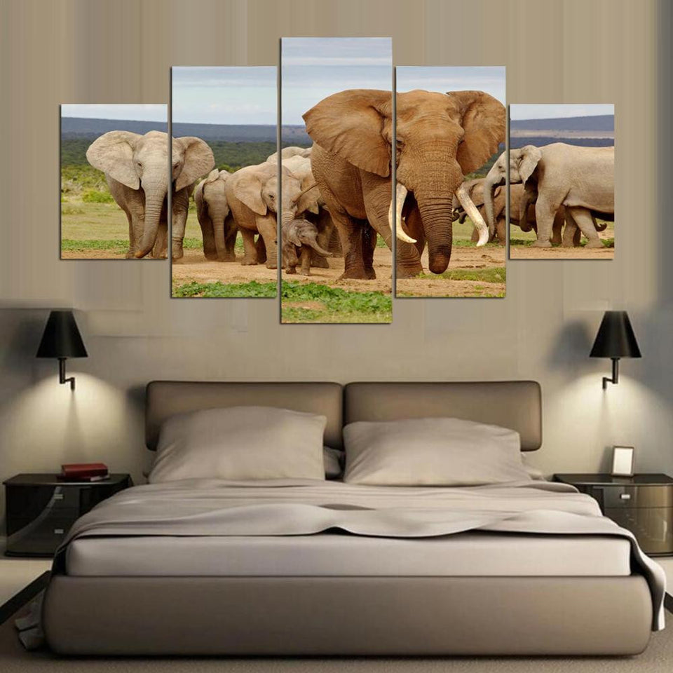 Elephant Canvas Painting Canvas Art African Landscape Picture For Living Room