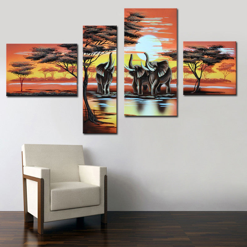 Handmade Home Decor Canvas Oil Painting African Art Elephant Life Painting