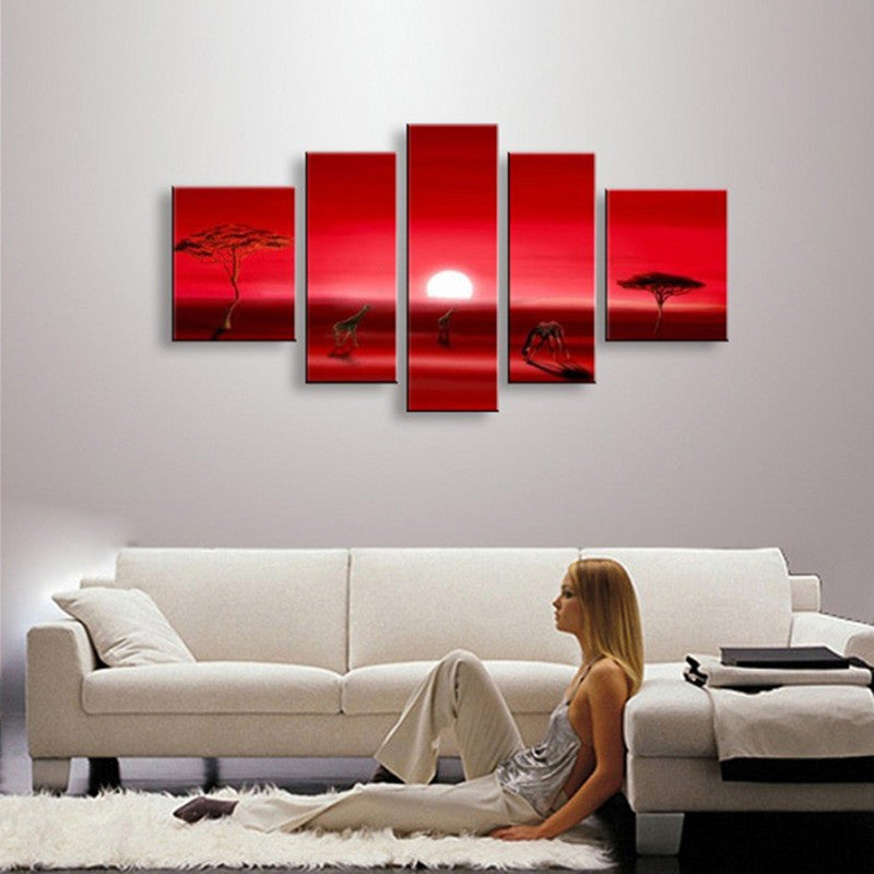Wall Art Pictures African Sunset Red Canvas Paintings Home Decor Hand Painted Scenery Landscape Oil