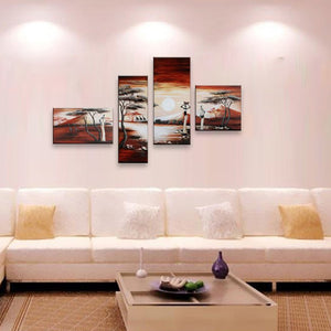 Wall Art Pictures African Woman Canvas Tree Paintings Set Home Decor Hand Painted Natural Scenery