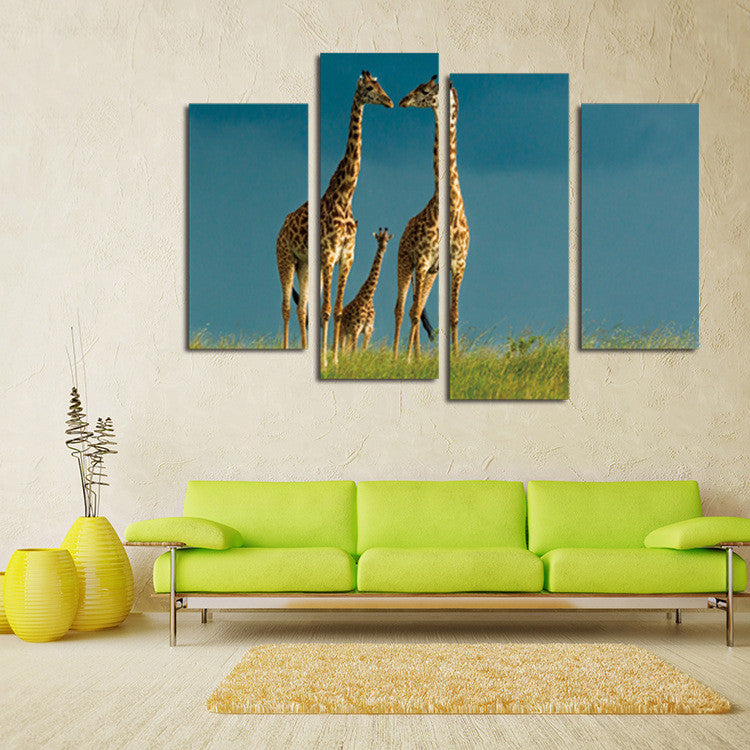 Wall Art Painting Animal Giraffe Pictures African Landscapes Canvas Painting l Home Wall Decor Pictures Unframed