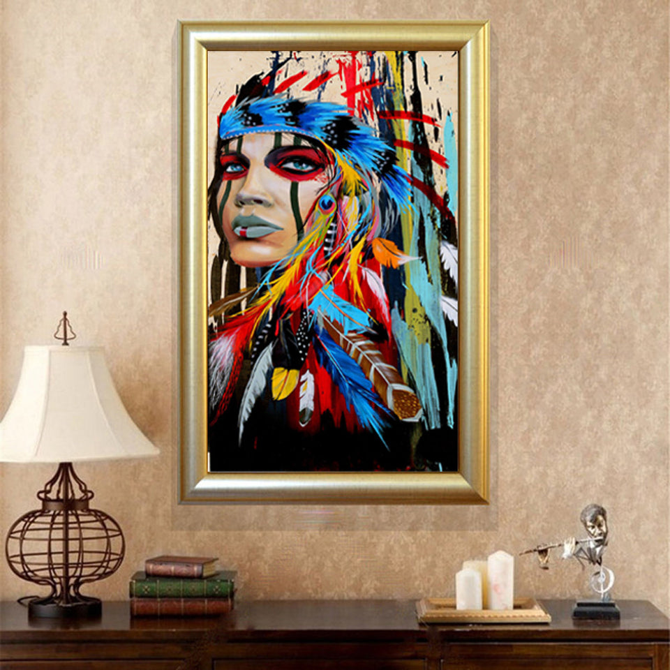 Graffiti Street Wall Art Abstract Modern African Women Portrait Canvas Oil Painting