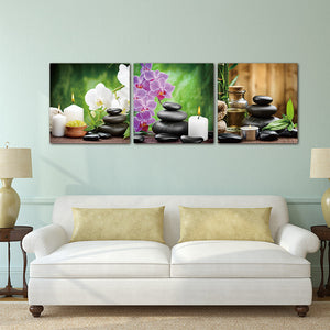 3 Panels Purple Flowers Candle Canvas Painting Large HD Wall Pictures Waterproof Modular Pictures