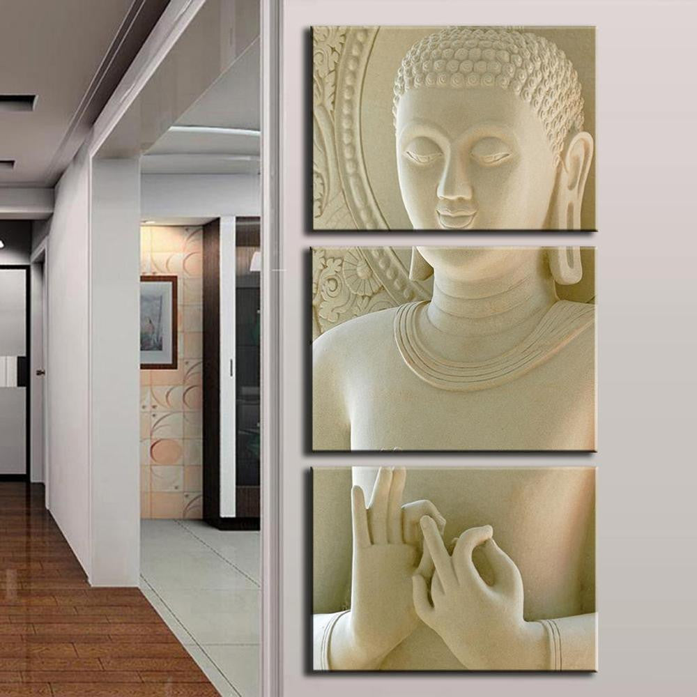 Buddha Painting 3 Picture Home Decoration White Marble Buddha Statues Art Canvas Painting Unframed
