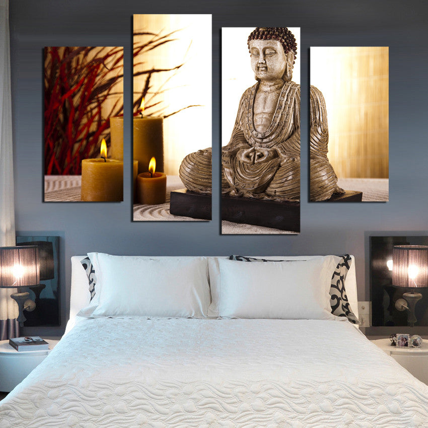 4 Panel Buddhism Buddha Canvas Painting Antique Candle Picture Wall Art Home
