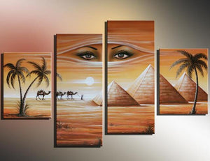 Home Goods Wall Art Canvas African Landscape Woman Face Handmade Oil Painting