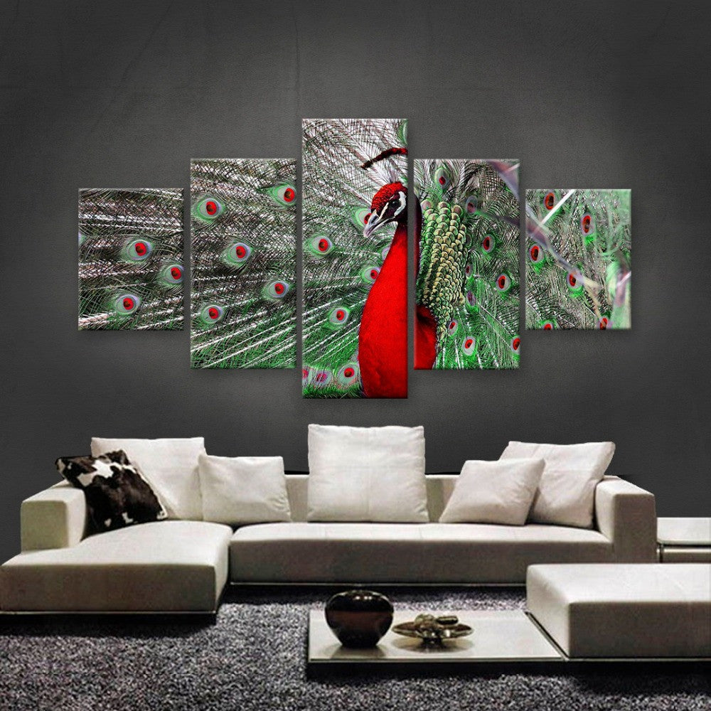 5 Panels Red Peacock Canvas Print Painting Canvas Wall Art Wall Home Decor Artwork