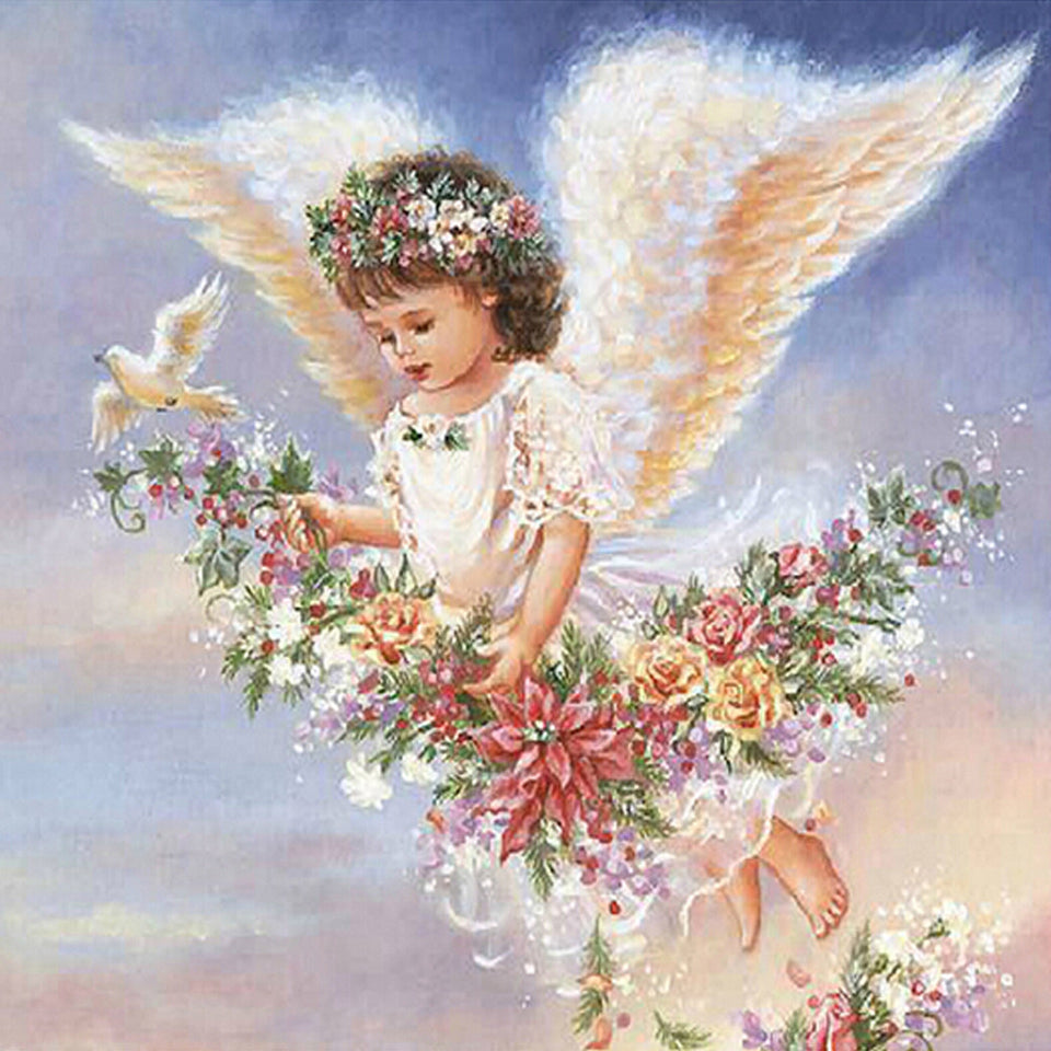 5D Diy Diamond Embroidery Angel Girl Wings Fly Diamond Painting Cross Stitch Square Drill Household