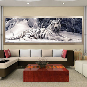 5D Diy Diamond Painting Cross Stitch White Tiger Round Diamond Mosaic Animals Paintings