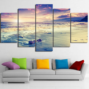 5 Piece Art Sea Beach Coast Waves Poster HD Home Decor Canvas Painting Picture Prints