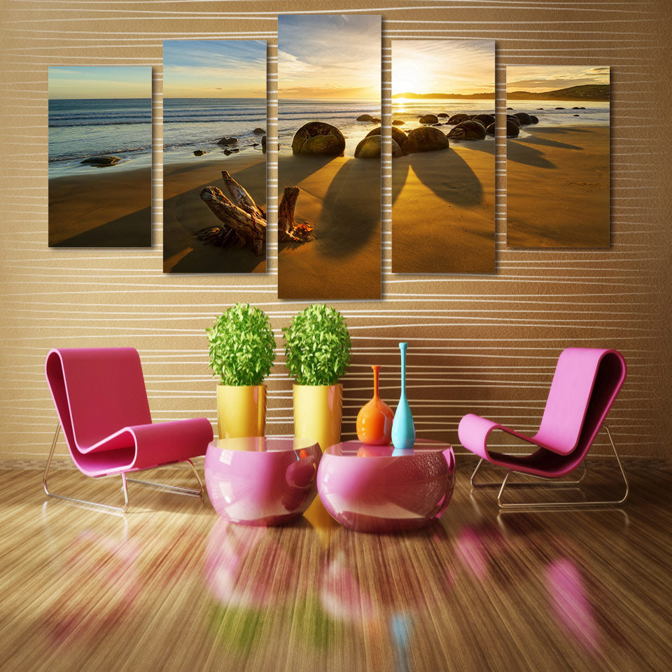 HD Printed 5 Piece Canvas Art Paintings Beach Sunset Sea Stones Canvas Paintings Wall Art Posters