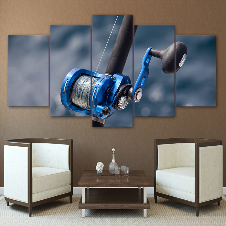 HD Printed 5 Piece Canvas Art Blue Fishing Rod Painting Wall Pictures Poster