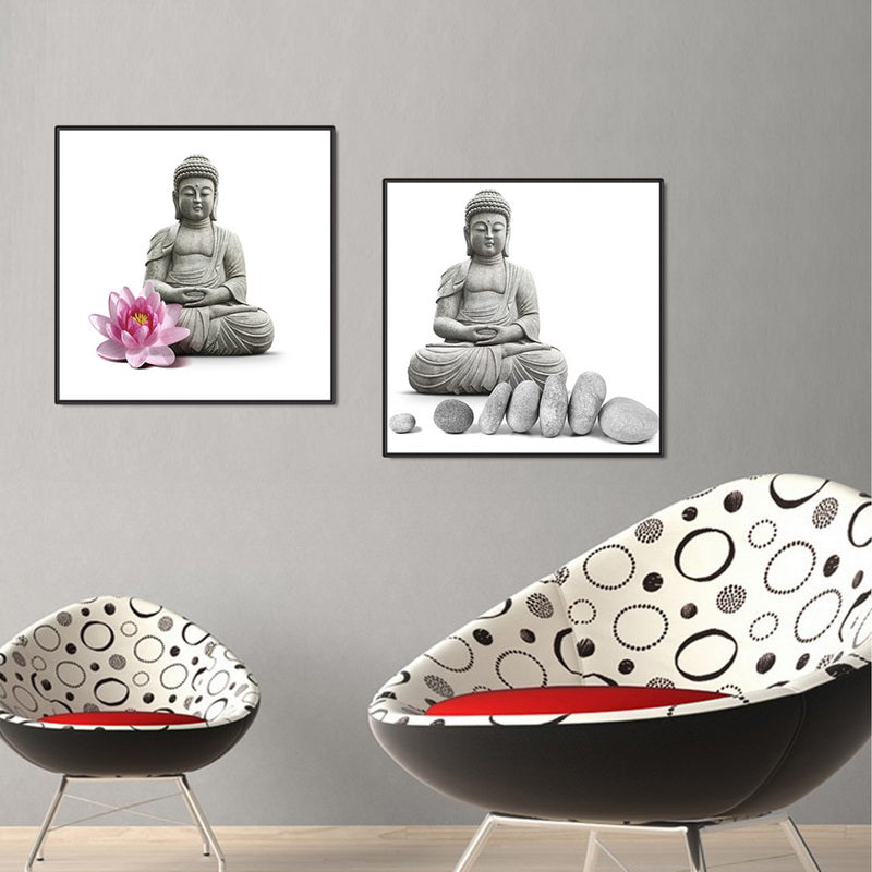 2 Panels Buddhist Oil Paint Modular Lotus Stone Buddha Canvas Picture Framed Prints Painting Room