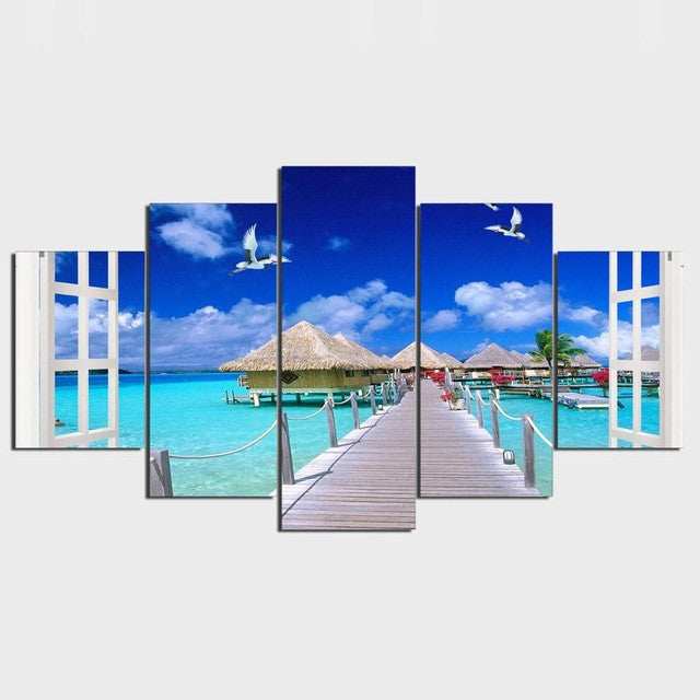 5 Piece Canvas Art Island Beach Painting Modular Wall Pictures for Living Room