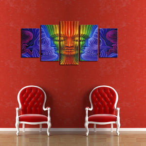 5 Panels Canvas Wall Art Buddha Pictures Paint on Canvas Painting