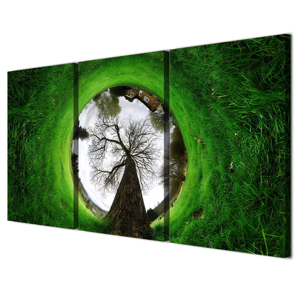 HD 3 Piece Canvas Art Green Grass Landscape House Abstract Painting Wall Painting